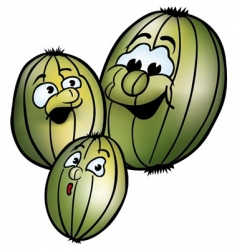 three smiling gooseberries vector image