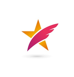Abstract star wing logo icon design template vector