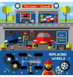 Auto centers and carwash horizontal banners vector
