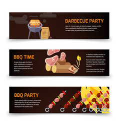 Bbq and steak horizontal banners template meat vector