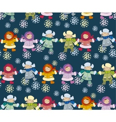 Boys and girls playing in the snow concept vector image vector image