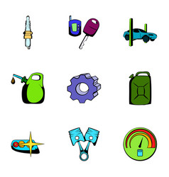 Car icons set cartoon style vector