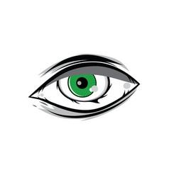 cartoon angry green horus god eyes for comics vector image