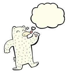 Cartoon waving polar bear with thought bubble vector