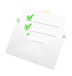Checklist in an envelope vector image vector image