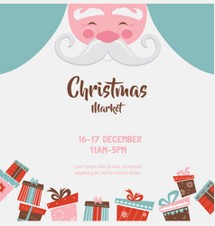 christmas market poster with santa and presents vector image vector image