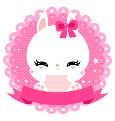 Cute little bunny on a gentle pink background vector image vector image