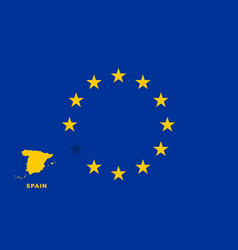 Eu flag with spain country european union vector