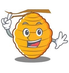 Finger bee hive character cartoon vector