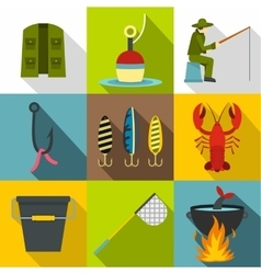 Fishing icons set flat style vector