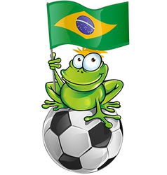 frog cartoon with soccer ball vector image