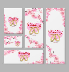 greeting and wedding invitation cards with vector image vector image