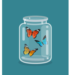 Jar and beautiful butterflies inside vector
