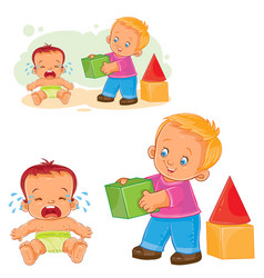 Little baby crying while an older brother wants to vector