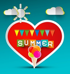Love summer red heart and ice cream paper cut vector