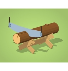 Low poly work bench with the log and handsaw vector