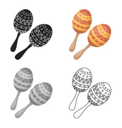 Maracas icon in cartoon style isolated on white vector