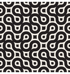 Seamless black and white rounded wavy lines vector