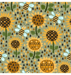 Seamless pattern with sunflowers and bees vector