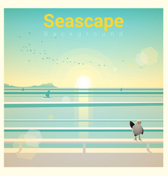 Seascape background with sea view in the morning vector