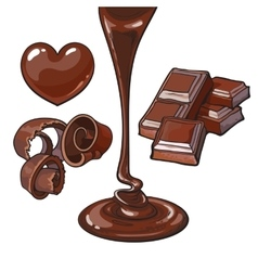 Set of chocolate - heart shaped candy shaving vector