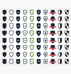 shield icon set security and safety system icons vector image vector image