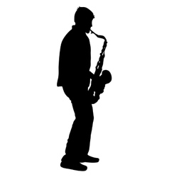 Silhouette musician saxophonist player on white vector image