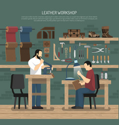Skinners working in leather workshop vector