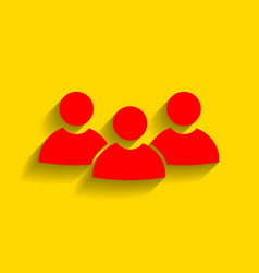 team work sign red icon with soft shadow vector image vector image