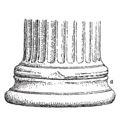 The base of an ionic column at the erechtheum vector