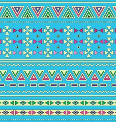 Tribal ethinc ztec seamless pattern on blue vector image