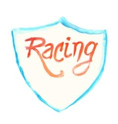 watercolor racing symbol with shield vector image vector image