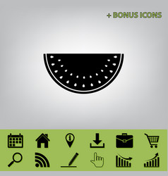 Watermelon sign black icon at gray vector