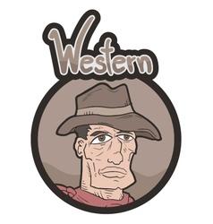Western frame emblem vector image vector image