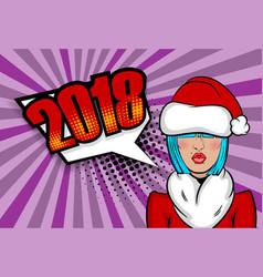 Woman pop art greeting christmas vector
