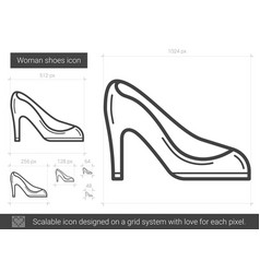 Woman shoes line icon vector