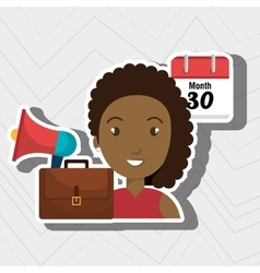 woman with speaker isolated icon design vector image