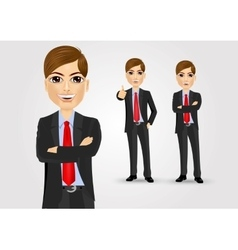 young businessman with crossed arms vector image vector image