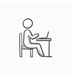 Businessman working on laptop sketch icon vector