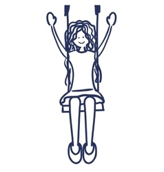 Girl swinging drawing isolated icon vector