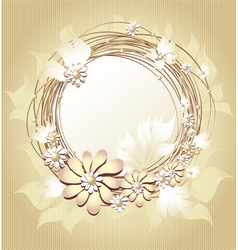 Scrapbooking floral frame in gold colors vector
