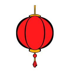 red chinese lantern icon cartoon vector image