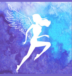 Silhouette of running winged woman vector