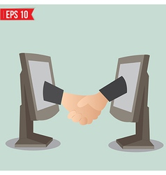 Virtual handshake - internet business concept - vector