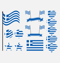 Greece flag set collection of symbols flag vector