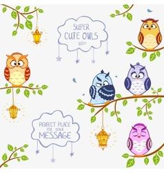 owls super cute vector image