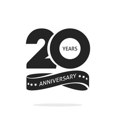 20 years anniversary logo template isolated black vector image