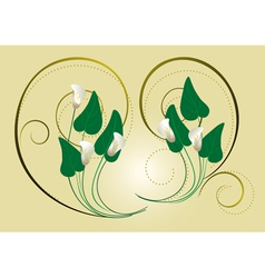 Calla flowers with the decor of spirals on a light vector