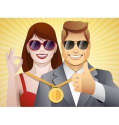 team of winners vector image
