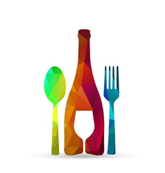 polygonal glass cup fork and spoon vector image